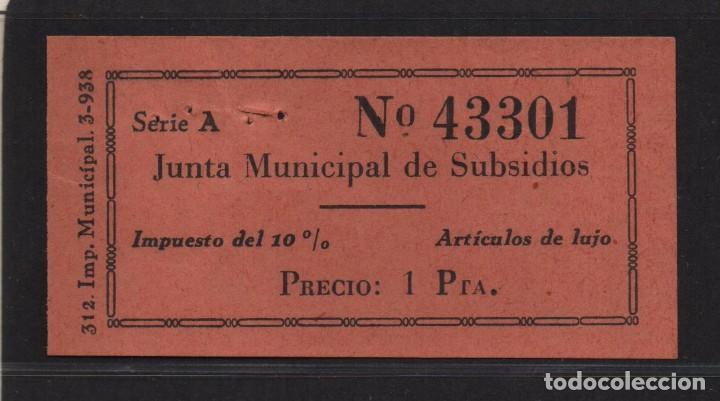 SEVILLA, 1 PTA, -JUNTA MUNICIPAL DE SUBSIDIO- ARTICULO DE LUJO, N/C, VER FOTO (Sellos - España - Guerra Civil - De 1.936 a 1.939 - Usados)