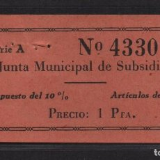 Sellos: SEVILLA, 1 PTA, -JUNTA MUNICIPAL DE SUBSIDIO- ARTICULO DE LUJO, N/C, VER FOTO. Lote 105946407
