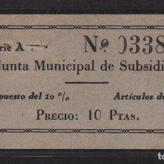 Sellos: SEVILLA, 10 PTAS, -JUNTA MUNICIPAL DE SUBSIDIO- ARTICULO DE LUJO, N/C, VER FOTO. Lote 105946455