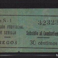 Sellos: SEVILLA, 30 CTS, -SUBSIDIO AL COMBATIENTE- JUEGOS-, N/C, VER FOTO. Lote 105946491