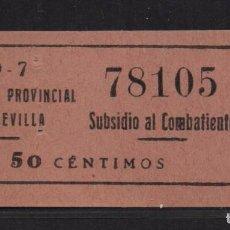 Sellos: SEVILLA, 50 CTS. - SUBSIDIO AL COMBATIENTE- Nº GRANDE- N/C. ALLEPUZ Nº 138, VER FOTO. Lote 105946687