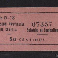 Sellos: SEVILLA, 50 CTS. - SUBSIDIO AL COMBATIENTE- Nº PEQUEÑA- . VER ALLEPUZ Nº 136, VER FOTO. Lote 105946767