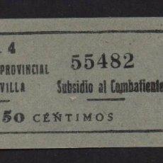 Sellos: SEVILLA, 50 CTS. - SUBSIDIO AL COMBATIENTE- Nº PEQUEÑA- N/C. VER ALLEPUZ Nº 136, VER FOTO. Lote 105946831