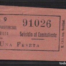 Sellos: SEVILLA, 1 PTA. ROSA, SUBSIDIO AL COMBATIENTE, Nº GRANDE. N/C. VER ALLEPUZ Nº 139, VER FOTO. Lote 105947031