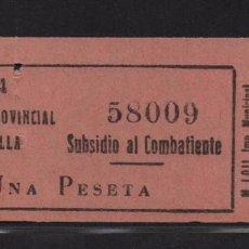 Sellos: SEVILLA, 1 PTA, ROSA,- SUBSIDIO AL COMBATIENTE- Nº PEQUEÑA, N/C. VER ALLEPUZ Nº 139. VER FOTO. Lote 105947087