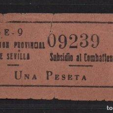 Sellos: SEVILLA, 1 PTA,,- SUBSIDIO AL COMBATIENTE- Nº GRANDE, N/C. VER ALLEPUZ Nº 139. VER FOTO. Lote 105947203