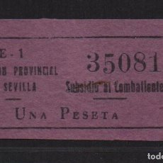 Sellos: SEVILLA, 1 PTA. LILA, SUBSIDIO AL COMBATIENTE, Nº GRANDE. ALLEPUZ Nº 140, VER FOTO. Lote 105947319