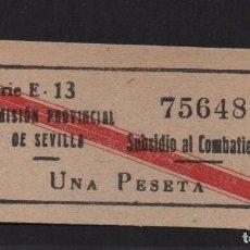 Sellos: SEVILLA, 1 PTA, - SUBSIDIO AL COMBATIENTE- Nº PEQUEÑA, ALLEPUZ Nº 141. VER FOTO. Lote 105947391
