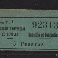 Sellos: SEVILLA, 5 PTA. SUBSIDIO AL COMBATIENTE, Nº GRANDE. ALLEPUZ Nº 142, VER FOTO. Lote 105947475