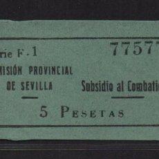 Sellos: SEVILLA, 5 PTA,- SUBSIDIO AL COMBATIENTE- Nº PEQUEÑA, ALLEPUZ Nº 142. VER FOTO. Lote 105947535