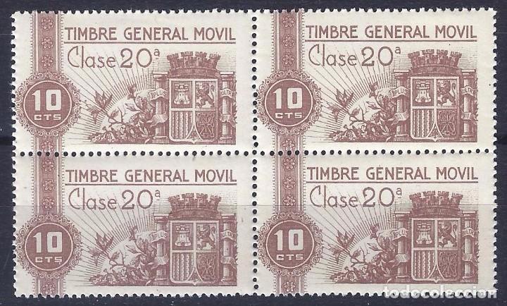 FISCALES. TIMBRE GENERAL MÓVIL. ALEMANY Nº 1 (BLOQUE DE 4). LUJO. MNH ** (Sellos - España - Guerra Civil - De 1.936 a 1.939 - Nuevos)