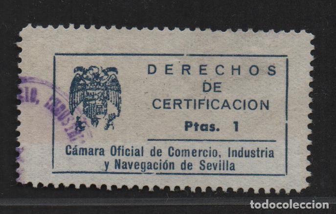 SEVILLA, 1 PTA, DERECHO DE CERTIFICACION, CAMARA COMERCIO Y NAVEGACION, VER FOTO (Sellos - España - Guerra Civil - De 1.936 a 1.939 - Nuevos)