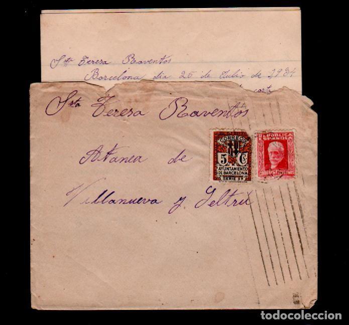 C10-10-12 GUERRA CIVIL HISTORIA POSTAL CARTA CIRCULADA EL 25 DE JULIO DE 1934, DE BARCELONA A VILLAN (Sellos - España - Guerra Civil - De 1.936 a 1.939 - Cartas)