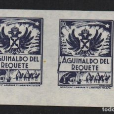 Sellos: AGUINALDO DEL REQUETE, 10 CTS, NEGRO, PAREJA SIN DENTAR, VER FOTO. Lote 106911823