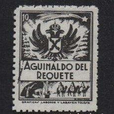 Sellos: AGUINALDO DEL REQUETE, 10 CTS, NEGRO, DENTADO, VER FOTO. Lote 106911891