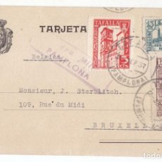 Sellos: TARJETA DE TAFALLA. NAVARRA. A BRUSELAS. 1937. SELLO LOCAL DE TAFALLA Y CENSURA MILITAR DE PAMPLONA.. Lote 107324103