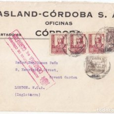 Sellos: SOBRE DE CÓRDOBA A LONDRES CENSURA MILITAR. RARÍSIMO SELLO LOCAL DE 5 PESETAS EN CARTA. Lote 107324663