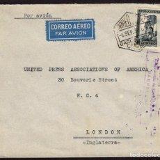 Sellos: ESPAÑA 1936 EDIFIL 673 SOBRE - CORREO AÉREO DE BARCELONA A LONDRES MARCA COMITE DE MILICIAS ANTIFASC. Lote 107424214
