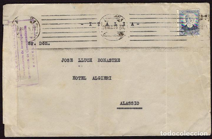 ESPAÑA 1936 EDIFIL 688 SOBRE - BARCELONA A ALASSIO, ITALIA. MILICIAS ANTIFASCISTAS CON LA MARCA COMI (Sellos - España - Guerra Civil - De 1.936 a 1.939 - Cartas)