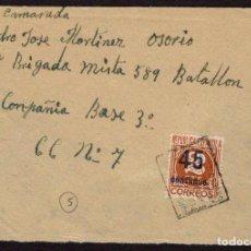 Sellos: ESPAÑA 1938 EDIFIL 731 PARCIAL SOBRE DE LA 333 BRIGADA COMPAÑÍA DE DEPÓSITO A LA 148 BRIGADA MIXTA,. Lote 107424668