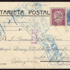 Sellos: ESPAÑA 1938 EDIFIL 749, 753 TARJETA POSTAL. A INGLATERRA CON CENSURA REPÚBLICA ESPAÑOLA. Lote 107424947