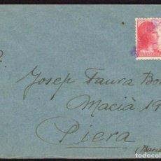 Sellos: ESPAÑA 1938 EDIFIL 752 SOBRE - DE LA 27 DIVISIÓN, 124 BRIGADA MIXTA A PIERA BARCELONA. Lote 107424975