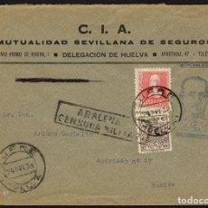 Sellos: ESPAÑA 1938 SOBRE - CENSURA MILITAR ARACENA, ESPECIAL MÓVIL. Lote 107425066