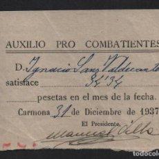 Sellos: CARMONA.- SEVILLA- AUXILUO PRO COMBATIENTE- AÑO 1937, VER FOTO. Lote 107452163