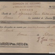 Sellos: BRENES.- SEVILLA- COMISION DE SOCORRO A FAMILIAS DE COMBATIENTES- AÑO 1937, VER FOTO. Lote 107452531