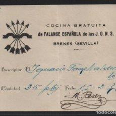 Sellos: BRENES.- SEVILLA- COCINA GRATUITA- AÑO 1937, VER FOTO. Lote 107452635