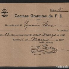 Sellos: CARMONA.- SEVILLA- 25 PTAS,- COCINA GRATUITA DE F.E.- AÑO 1937, VER FOTO. Lote 107452759