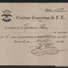Sellos: BRENES.- SEVILLA- 5 PTAS,- COCINA GRATUITA- AÑO 1937, YUGO GRANDE,- VER FOTO. Lote 107452883
