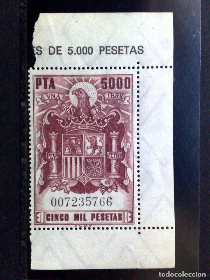 SELLO TIMBRE FISCAL MOVIL **(MNH) DE 5000 PESETAS-CON BORDE DE HOJA-MINT (Sellos - España - Guerra Civil - De 1.936 a 1.939 - Nuevos)