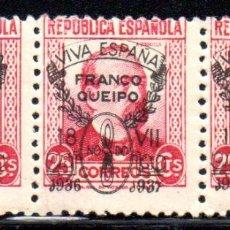Sellos: ESPAÑA.- EMISIÓN LOCAL PATRIÓTICA.- SEVILLA 1936-37, BLOQUE DE TRES, EN NUEVOS. Lote 107719159