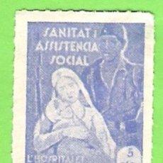 Sellos: GUERRA CIVIL. ASISTENCIA SOCIAL,SANITAT- HOSPITALET DE LLOBREGAT 5 CTS. Lote 107933531