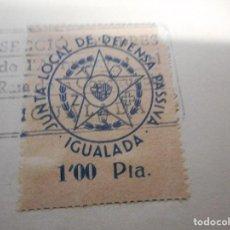 Sellos: SELLO LOCAL GUERRA CIVIL JUNTA LOCAL DE DEFENSA PASSIVA IGUALADA 1 PESETA. Lote 108452235