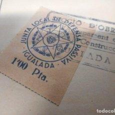 Sellos: SELLO LOCAL GUERRA CIVIL JUNTA LOCAL DE DEFENSA PASSIVA IGUALADA 1 PESETA. Lote 108453807