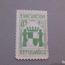 Sellos: GUERRA CIVIL - EVACUACION REFUGIADOS - 5 CTS - MNH** - NUEVO.. Lote 108588195