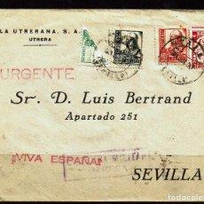 Sellos: 1937 CARTA CIRCULADA A SEVILLA URGENTE Y CON CENSURA MILITAR. Lote 108912411
