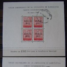 Sellos: AYUNTAMIENTO BARCELONA - EDIFIL Nº 40/41 HOJITAS BLOQUES USADAS. Lote 109029679