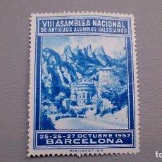 Sellos: VIÑETA - VII ASAMBLEA NACIONAL DE ANTIGUOS ALUMNOS SELESIANOS - NUEVA - BARCELONA 1957. Lote 109054431