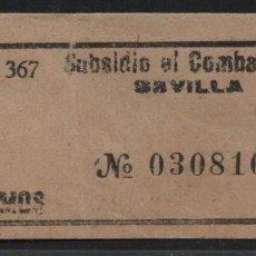 Sellos: SEVILLA, 10 CTS, -SUBSIDIO AL COMBATIENTE-, ALLEPUZ Nº 132. VER FOTO. Lote 109073627