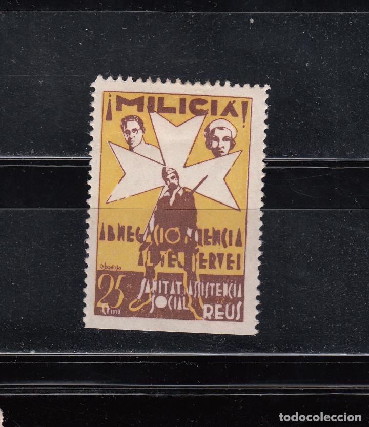 REUS. MILICIA. ASISTENCIA SOCIAL. 25 CTS. (Sellos - España - Guerra Civil - Locales - Nuevos)