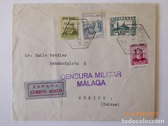 CARTA CENSURA MILITAR, DE MALAGA. FRANQUEO COMBINADO REPUBLICA, A ZURICH, 1937 (Sellos - España - Guerra Civil - De 1.936 a 1.939 - Cartas)