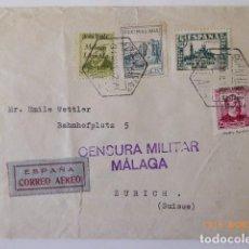 Sellos: CARTA CENSURA MILITAR, DE MALAGA. FRANQUEO COMBINADO REPUBLICA, A ZURICH, 1937. Lote 109143111