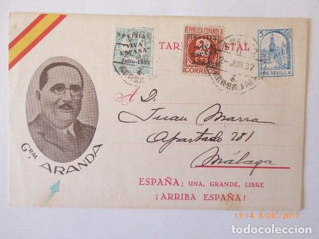 TARJETA POSTAL GENERAL ARANDA, CENSURA MILITAR SEVILLA , 1937, MALAGA. FRANQUEO COMBINADO REPUBLICA (Sellos - España - Guerra Civil - De 1.936 a 1.939 - Cartas)