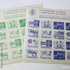 Sellos: CONJUNTO DE 2 HOJITAS BLOQUE CON 16 VIÑETAS - IX EXPOSICIÓN FILATÉLICA Y NUMISMÁTICA DE GRACIA. Lote 109274483