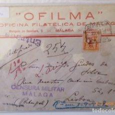 Sellos: CARTA CIRCULADA MALAGA- LISBOA, O.F.I.L.M.A. 1936, RARA, CENSURA MILITAR, . Lote 109737847
