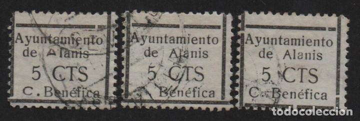 ALANIS,(SEVILLA), 5 CTS, CUOTA BENEFICA- 3 TIPOS, ALLEPUZ Nº 7 ,VER FOTO (Sellos - España - Guerra Civil - De 1.936 a 1.939 - Usados)