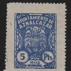 Sellos: AZNALCAZAR,(SEVILLA), 5 PTAS, -SELLO MUNICIPAL- ,VER FOTO. Lote 110093643